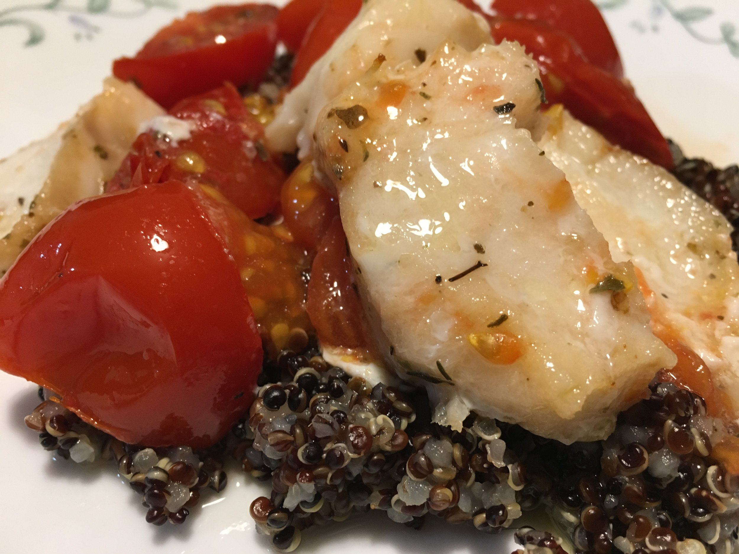 Roasted Shrimp (Cod) & Tomatoes w Quinoa.JPG