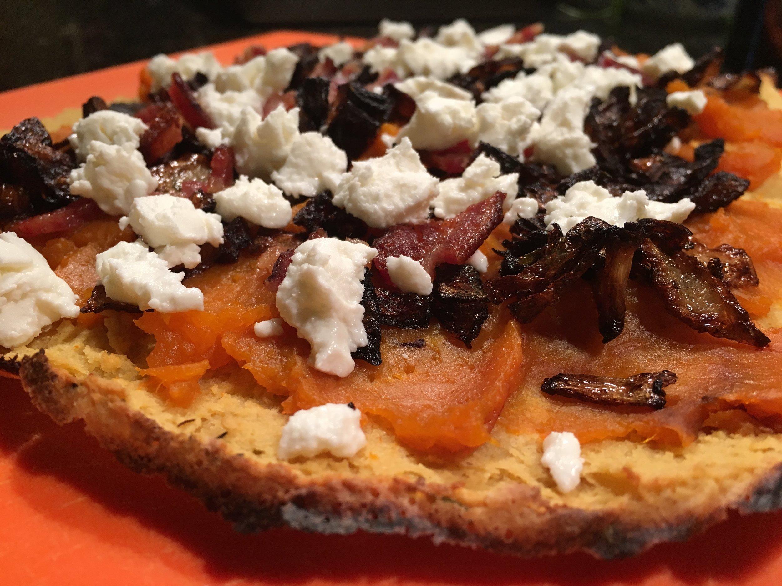 Pizza Night! Sweet Potato%2c Bacon & Blue Cheese.JPG