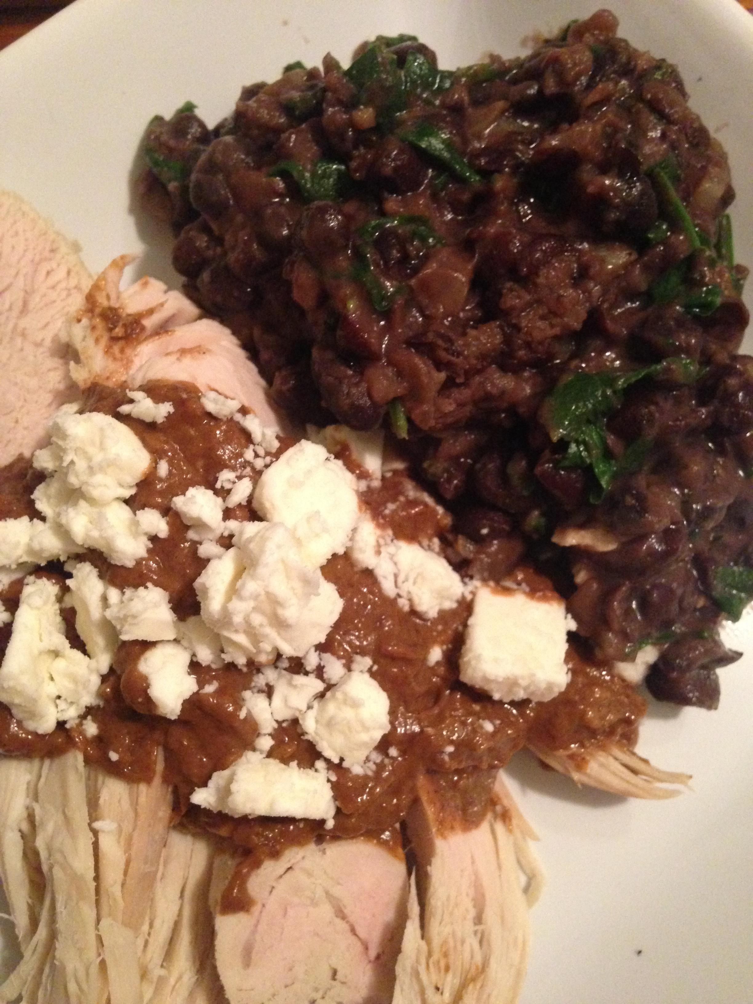 Turkey Cutlets w Mole Sauce & Black Beans.JPG