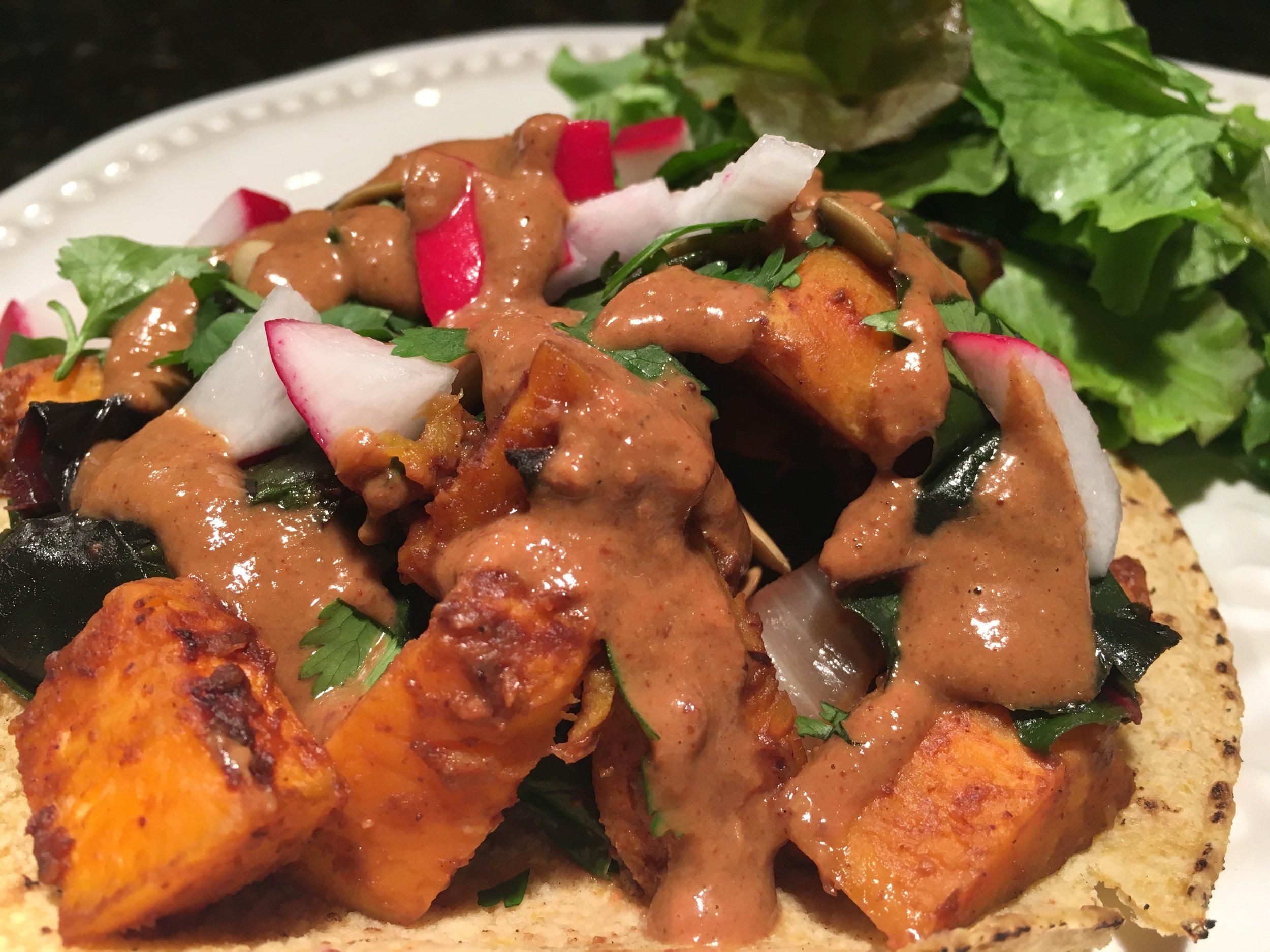 Mole Sweet Potato Tacos w Mixed Greens.JPG