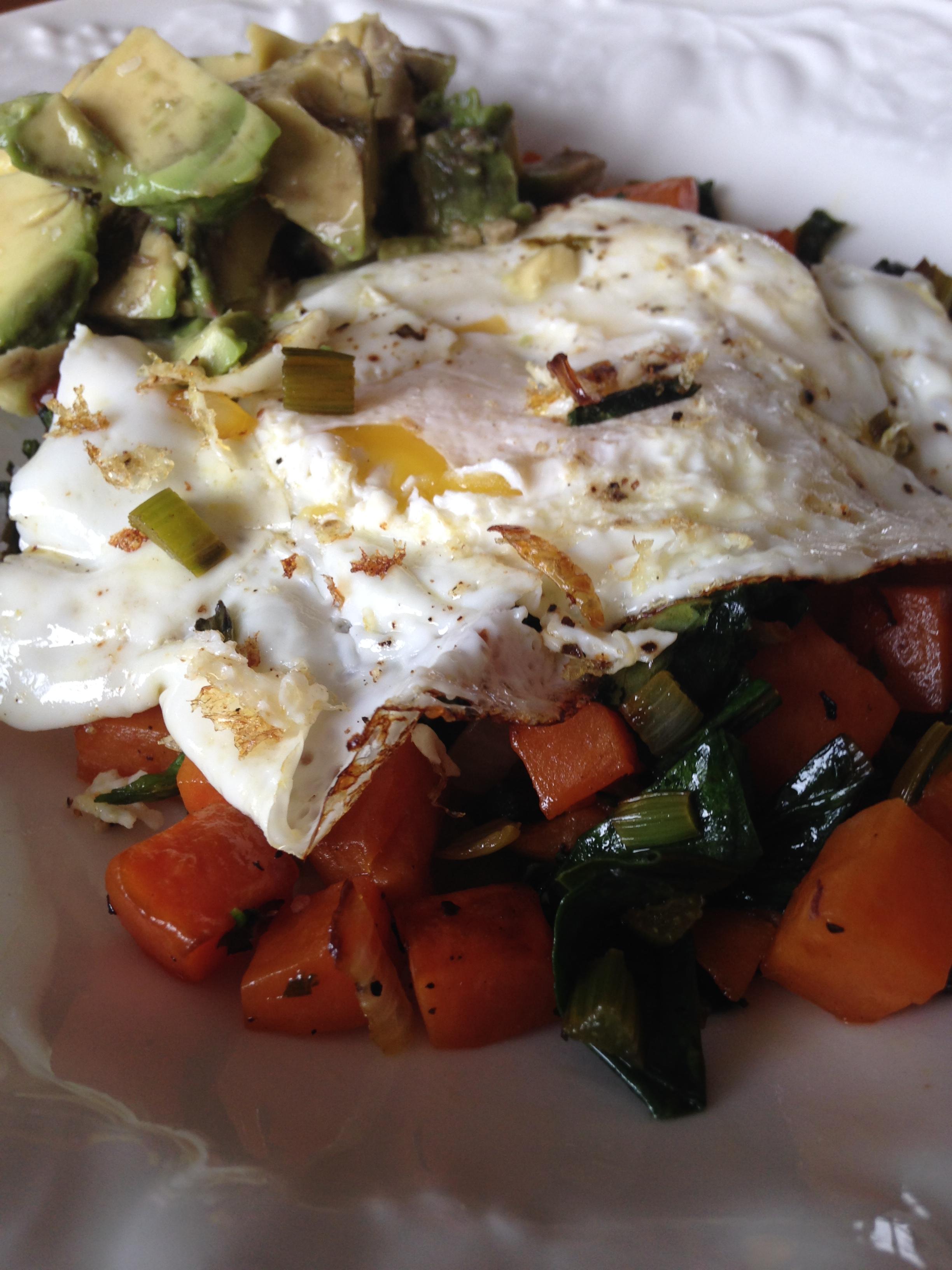 Eggs w Sweet Potato & Beet Green Hash.JPG