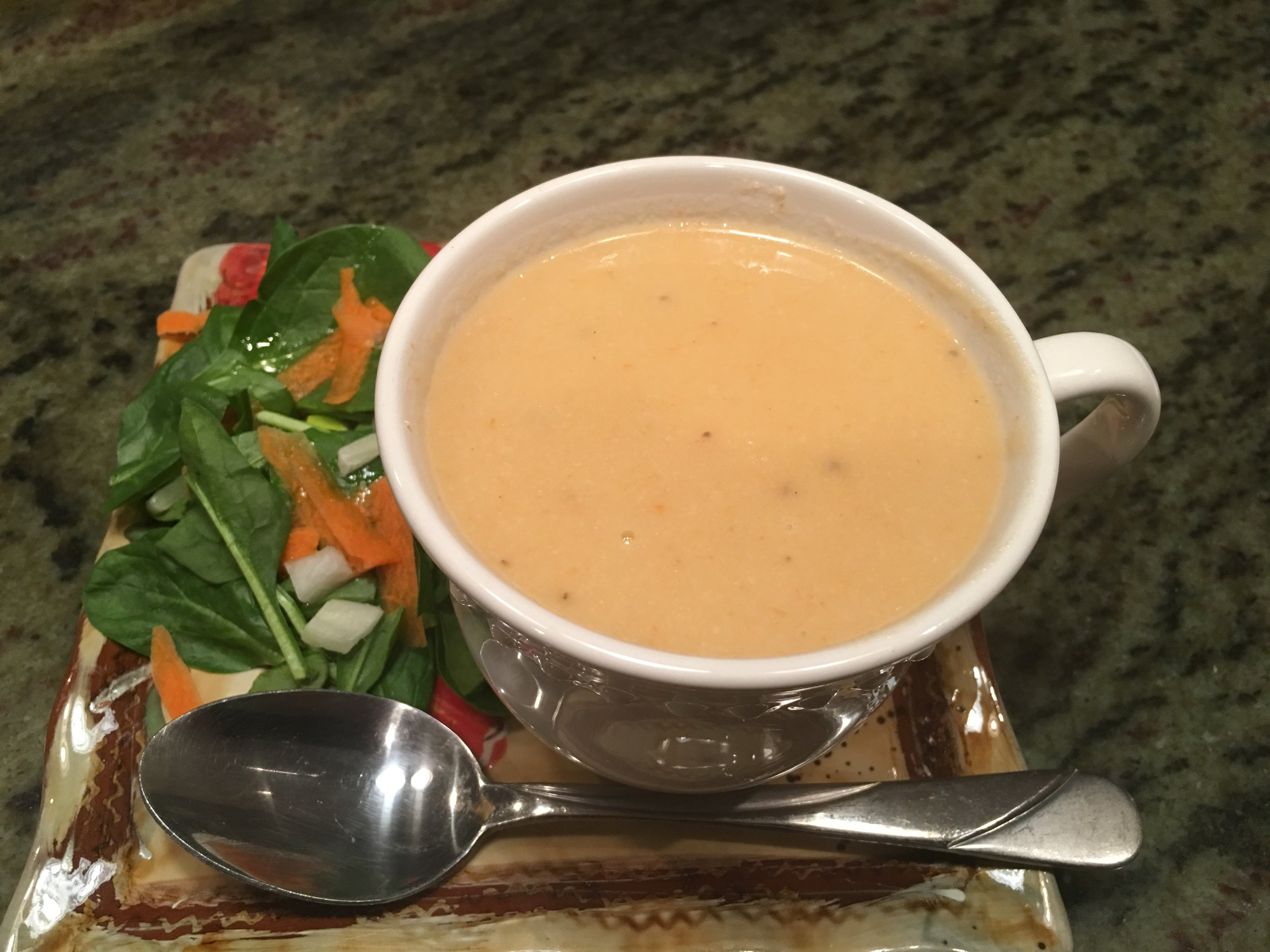 Cheesy Cauliflower Soup & Salad.JPG