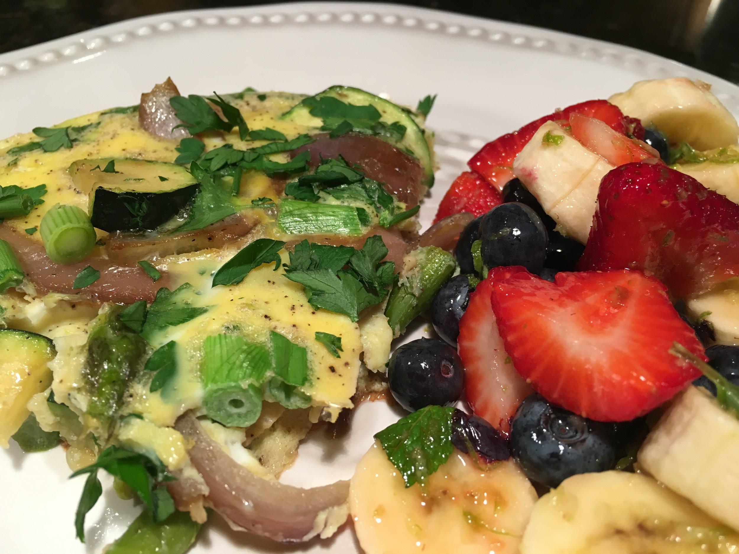 Breakfast for Dinner - Asparagus%2c Zucchini%2c & Herb Frittata w Fruit Salad.JPG