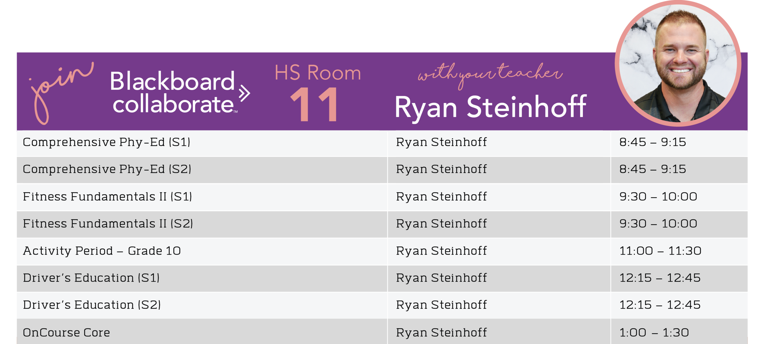 Ryan Steinhoff Blackboard Schedule