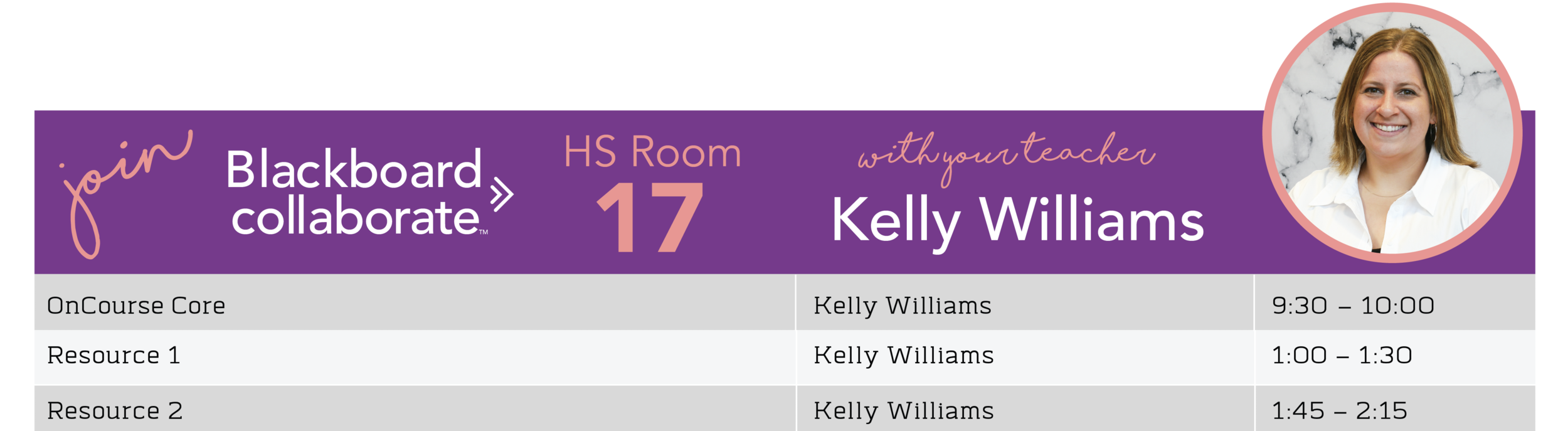 Kelly Williams Blackboard Schedule