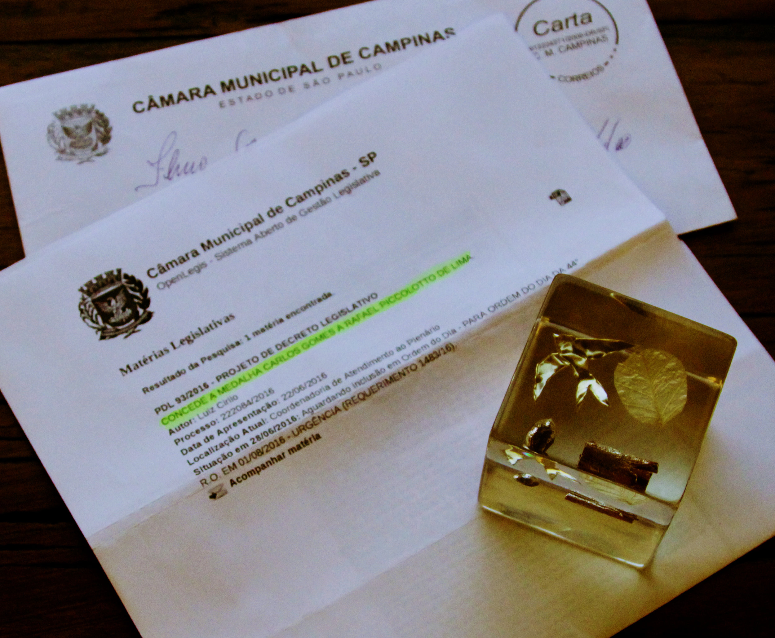 Carlos Gomes Medal invitation and and gift from the mayor. Campinas, São Paulo, Brazil.
