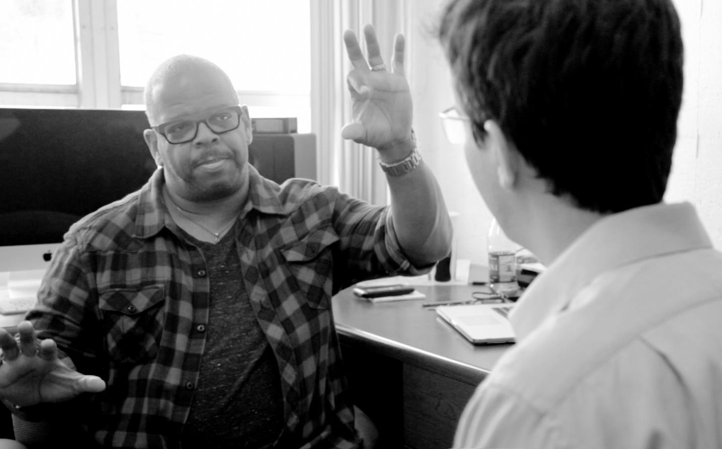 Rafael Piccolotto de Lima interviewing composer Terence Blanchard (Miami, 2015).