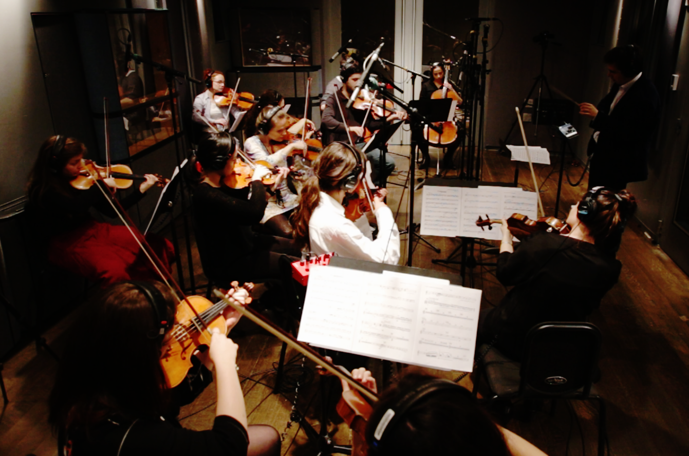 Rafael Piccolotto de Lima Chamber Project, strings at recording session.Manhattan, New York.March 19th, 2017.