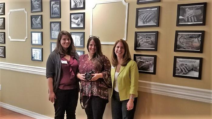 From left, Harbor Program Coordinator Aleks Alekhina, Eva Giannini of Candid Spirit Photography and Executive Director Linda Silveira at Greenwich Farms at Warwick.
