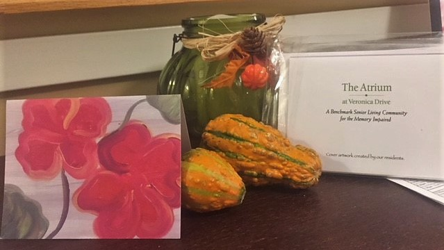 Notecards featuring artwork by residents at The Atrium at Veronica Drive.