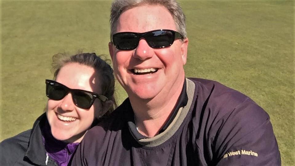 Golf partners, Giuliana and John.