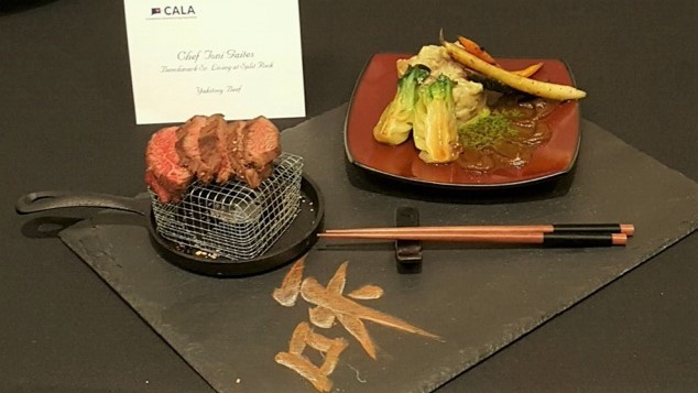 Chef Toni Gaites won the beef category with her culinary masterpiece: Yakitori Style Teres Major, Pistachio Gastrique, Ashed Fruit Wood Potato, Baby Bok Choy and Tri-Colored Carrots.