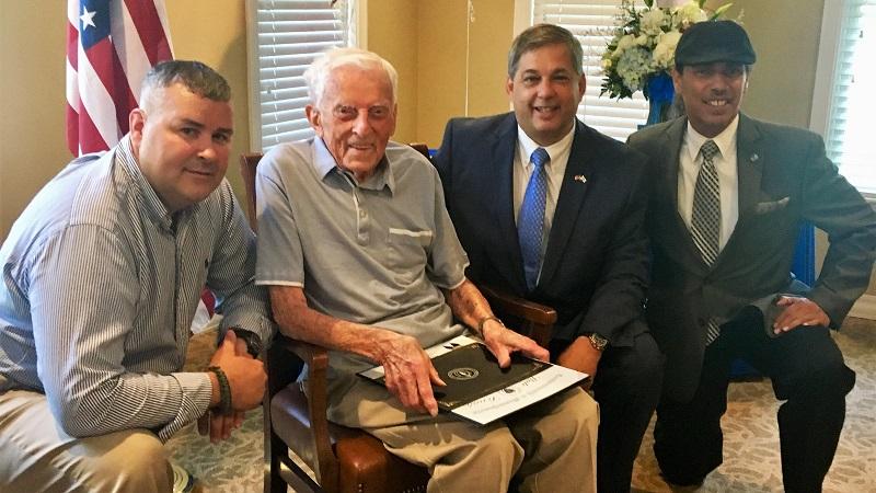 From left, Director of North Andover Veteran Services Joe LeBlanc, Frank Korycki, State Sen. Bruce Tarr and Director of Lawrence Veteran Services Jaime Melendez.