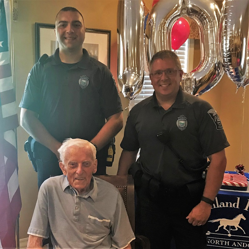 North Andover police officers helped celebrated Frank's birthday, too!