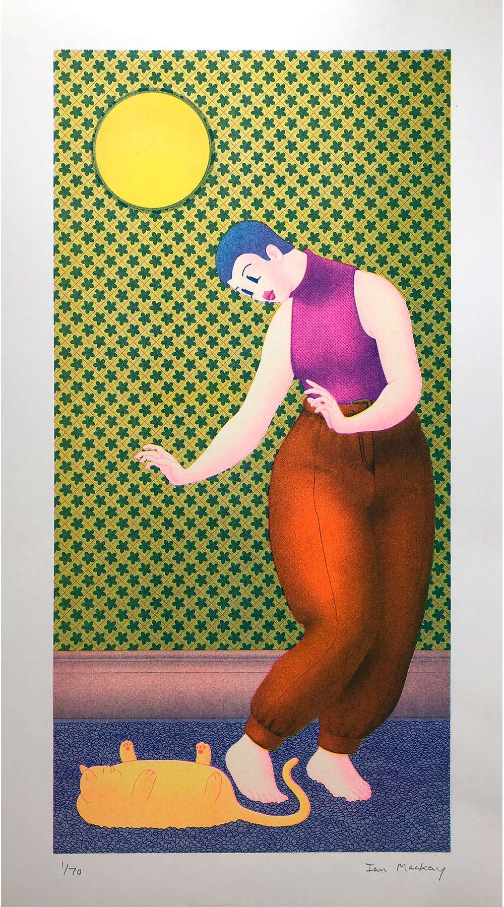 'Woman with pet' risograph print