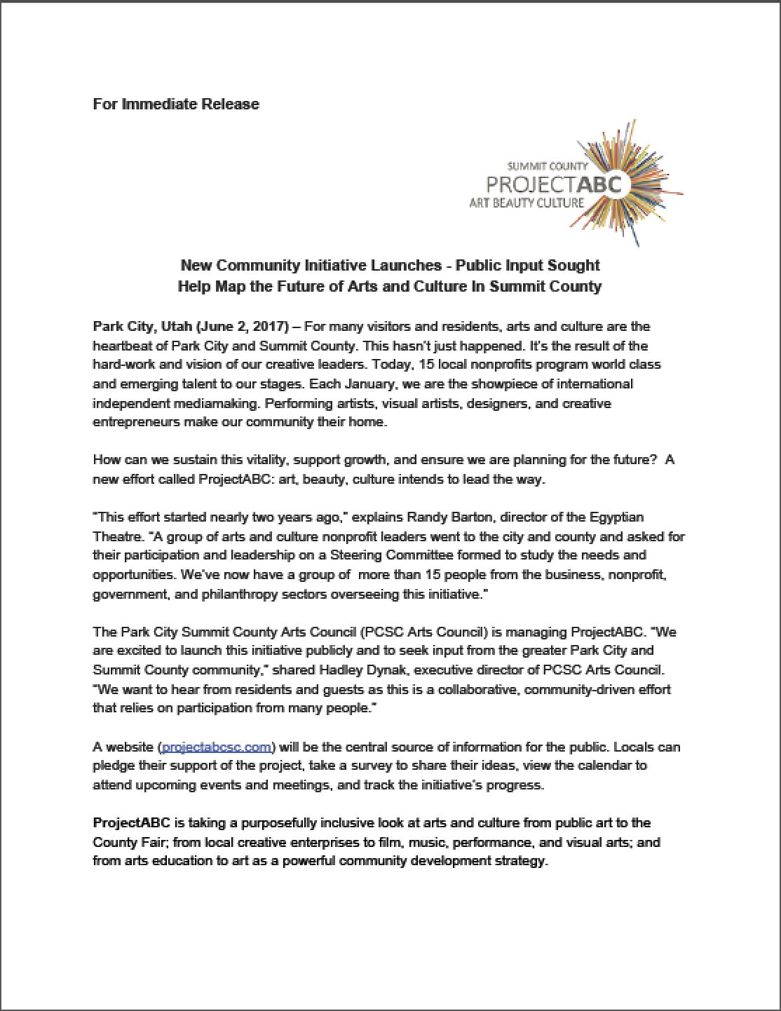 ProjectABC Press Release