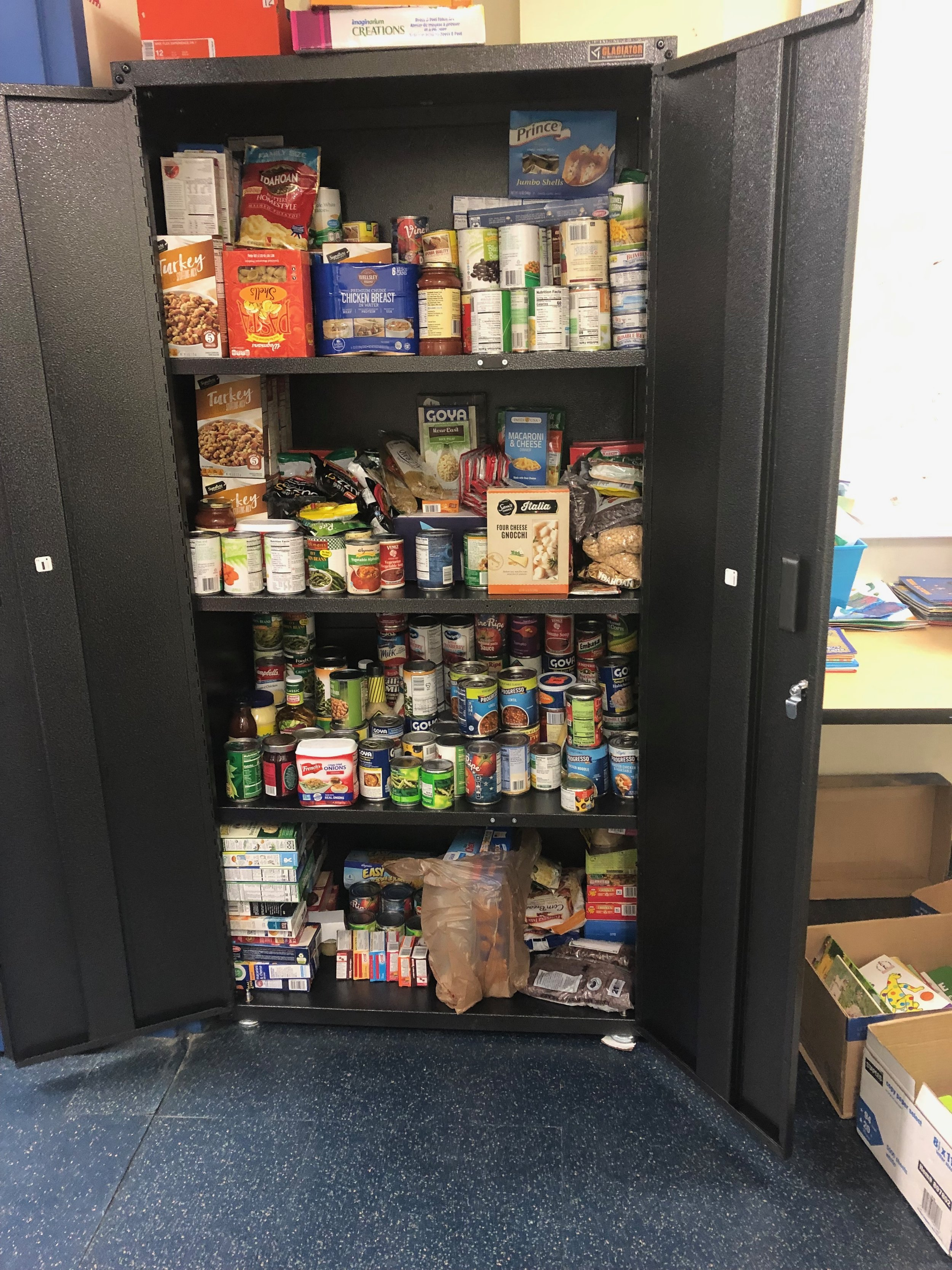 Ms. Molkentine's students built a food pantry in their school as part of their learning about hunger and about helping those in need.