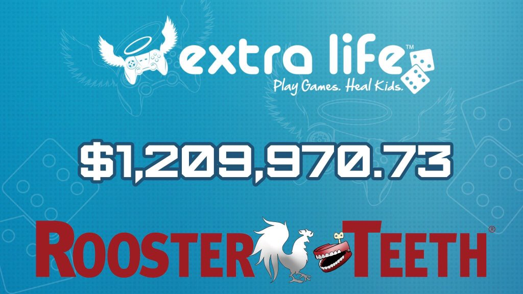 EXTRA LIFE CHARITY STREAM - A 24-hour livestreamed charity event where fans donated money, bought merchandise, and raised nearly $1.2 million in 2017. Over the past four years, Rooster Teeth has facilitated the donation of 3.7 million dollars to the Children's Miracle Network Hospitals through the participation of thousands of Rooster Teeth community members during Extra Life.