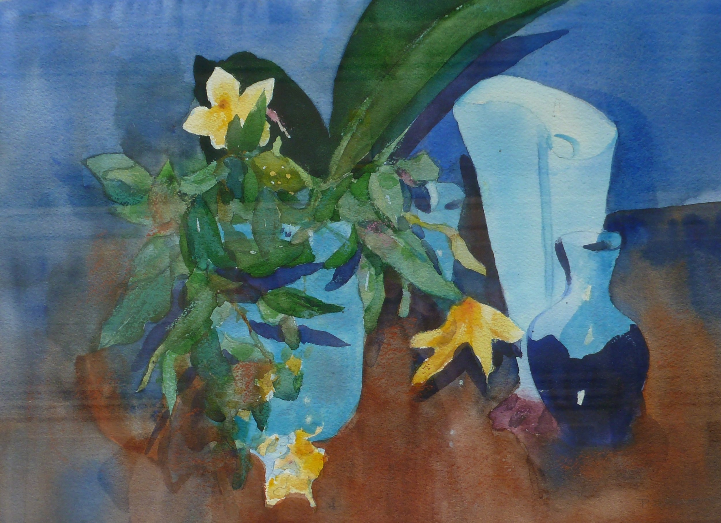 Blue Vases     Watercolor    Framed  20hx16w     $200