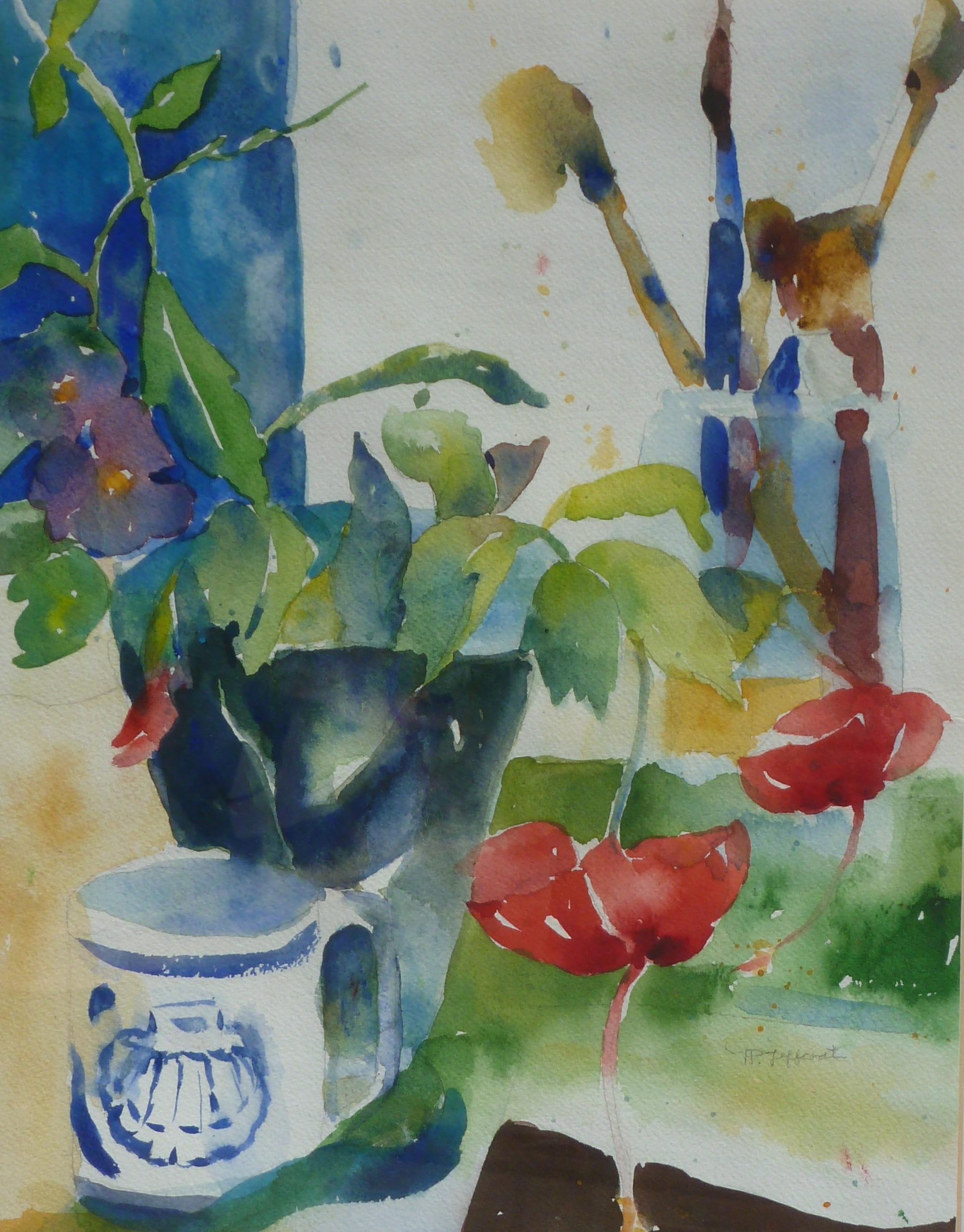 In the Artist's Studio  Watercolor  20hx16w  framed  $300