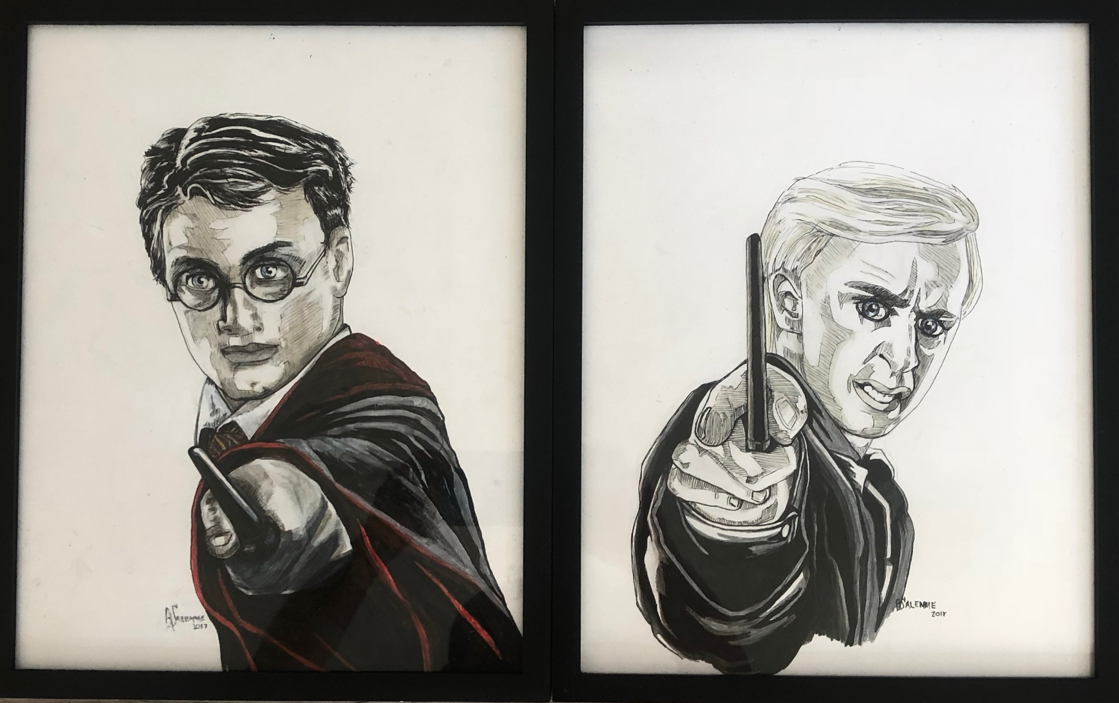 """Harry and Draco""    11x14    Mixed Media    $85"