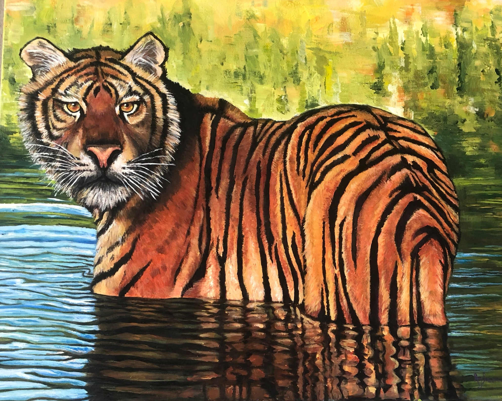 """Sunset Swim""    24x30 Acrylic    $975"