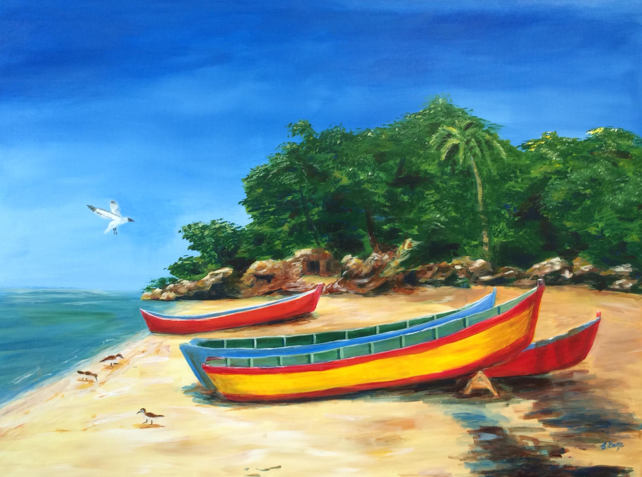 """""""Boats on a Beach"""" 36x48"""" Acrylic $350"""