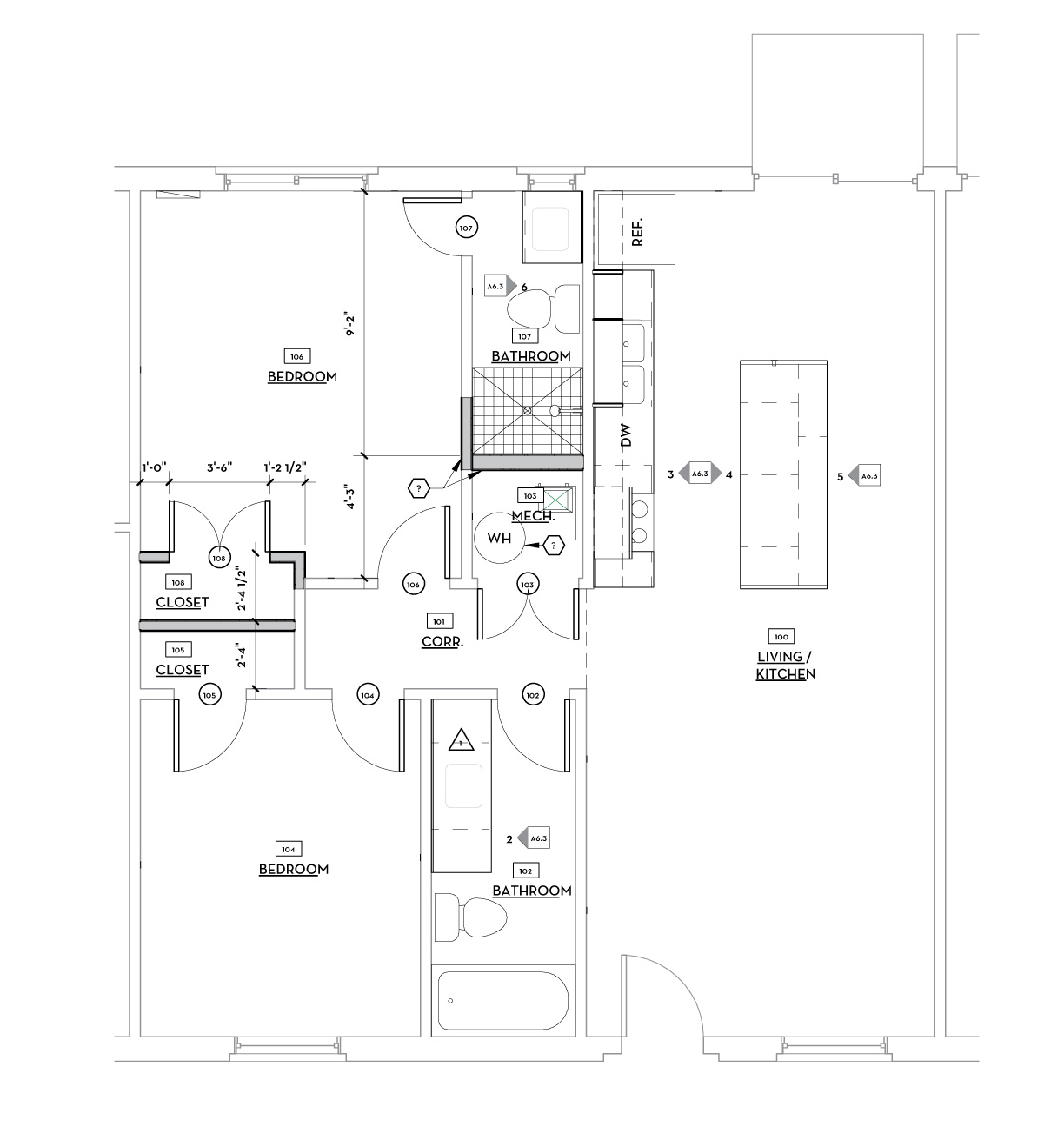 FIRST FLOOR DIMENSION PLAN - TYP. 2 BED UNIT