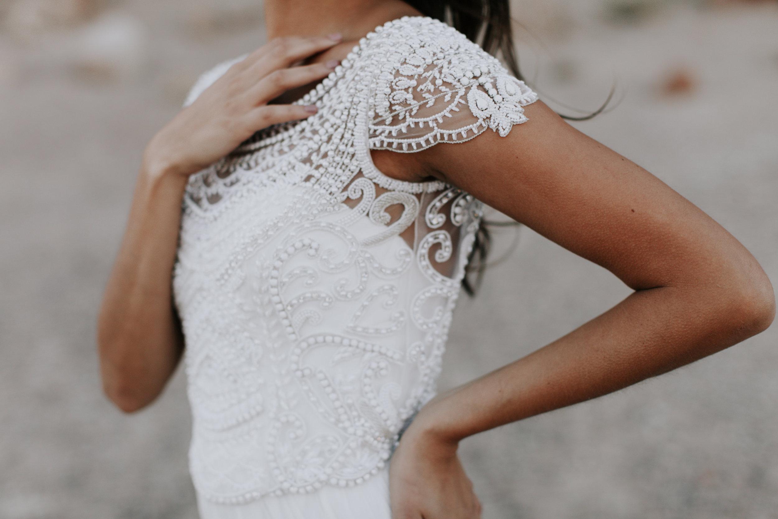 Anna Campbell Florence Dress | Vintage Inspired Boat Neck Embellished Wedding Dress