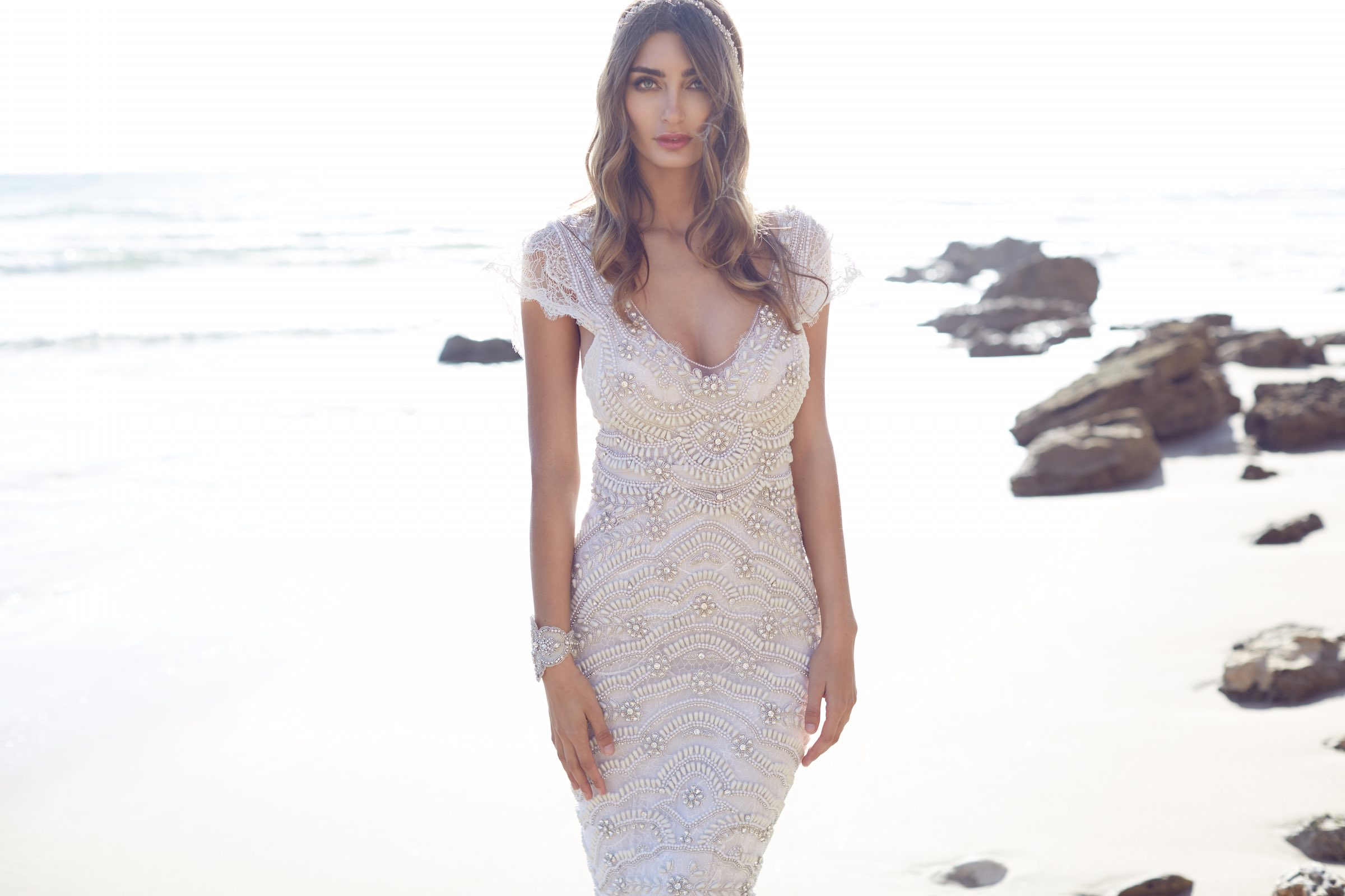 Anna Campbell Coco Dress | Vintage inspired embellished wedding dress for bridal beauty