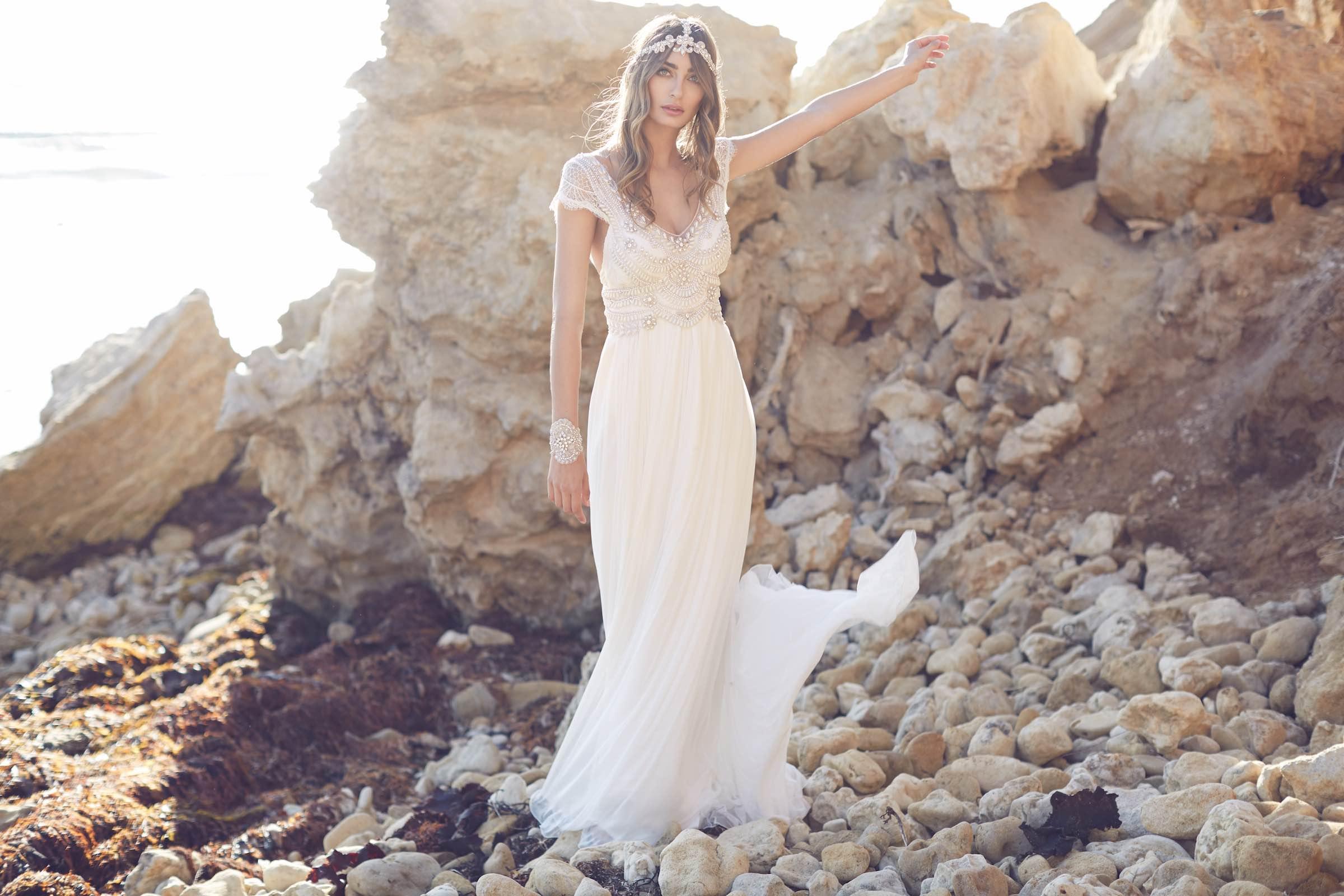Anna Campbell Coco Dress   Vintage inspired embellished wedding dress