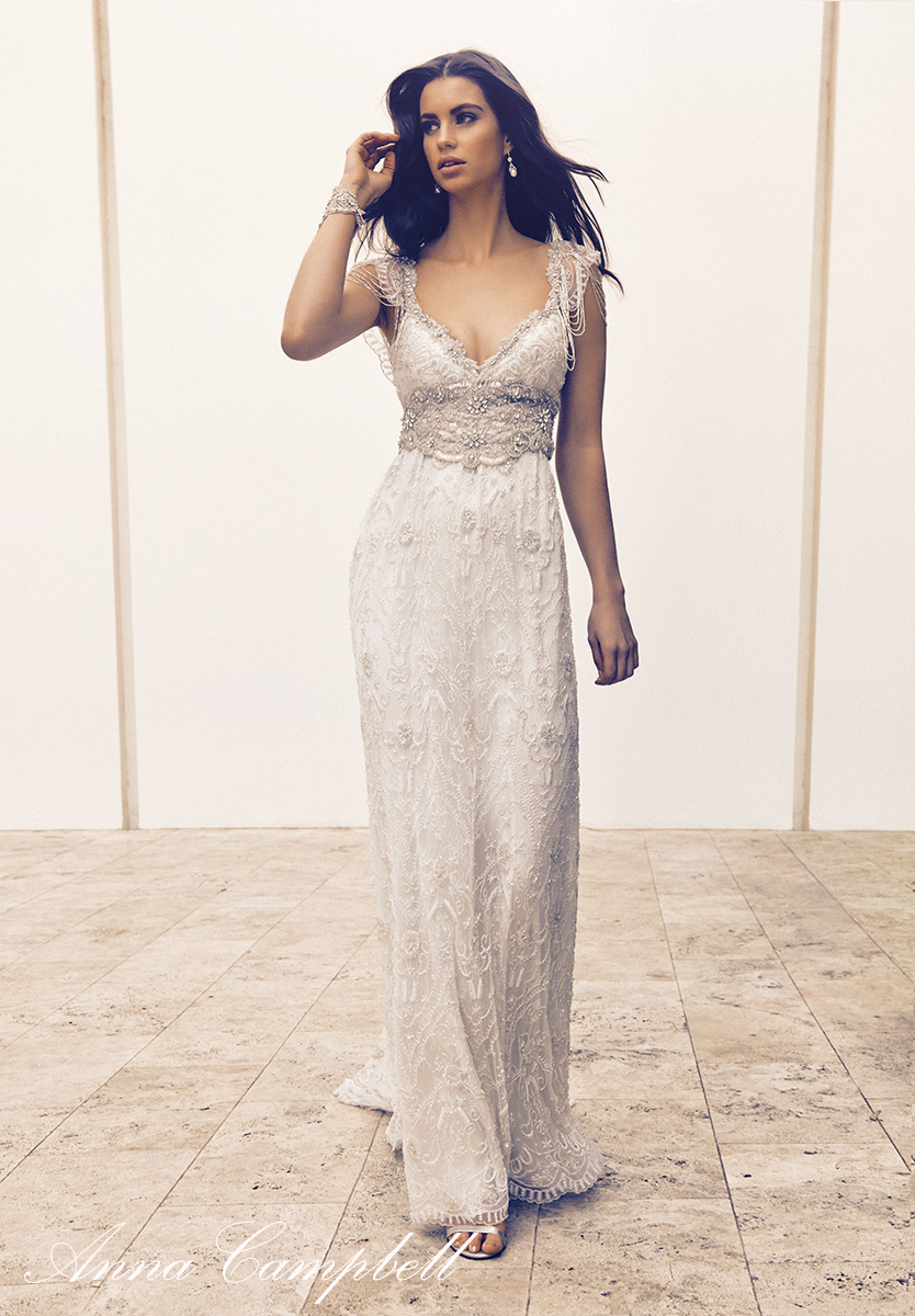 Anna Campbell Ashlyn Dress | Vintage-inspired embellished lace wedding dress