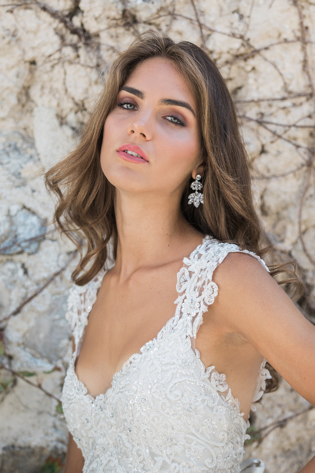 Anna Campbell Bridal | Eternal Heart Collection | Alyssa Dress. Vintage-inspired wedding dress, styled with the Alyssa Veil, Natalia Bridal Earrings and Hand-beaded Eliza wrist cuff.