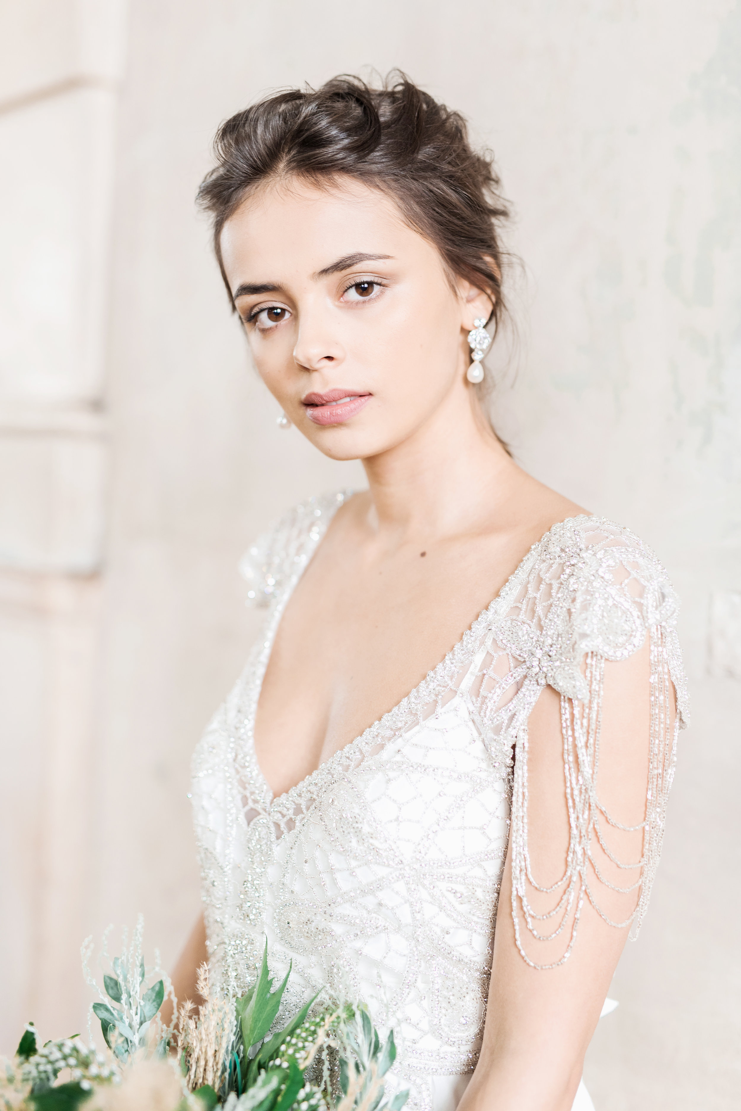Grace Dress - Delicate hand-beaded shoulder detailing, an elegant low back and a shimmering silver hand-embellishment, the vintage-inspired Grace epitomizes whimsical and glamourous Anna Campbell...Styled with the Charlotte Chandelier Earrings