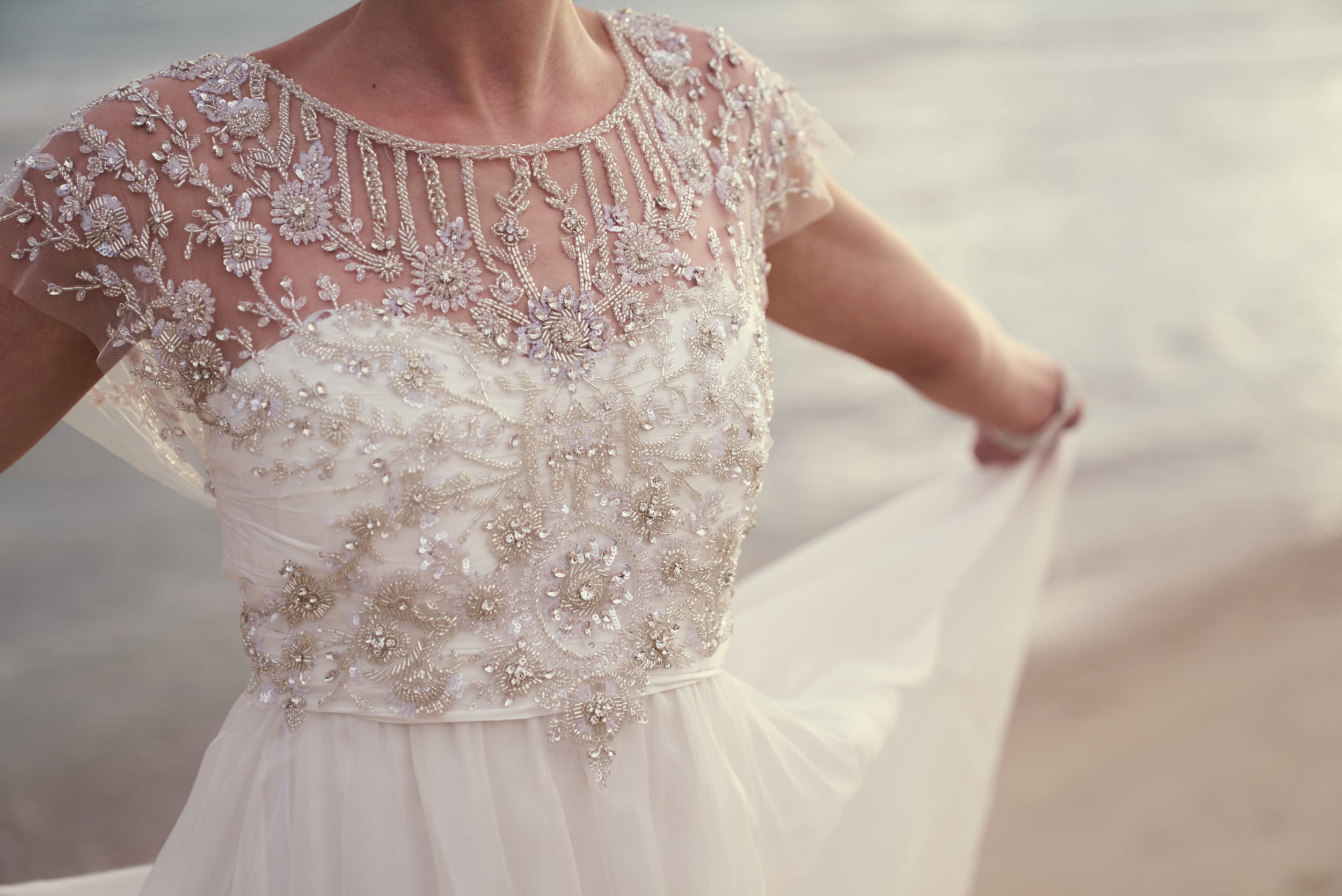 Anna Campbell Bridal Adele Wedding Dress | Vintage Inspired Bridal Gown with a Beaded Illusion Neckline