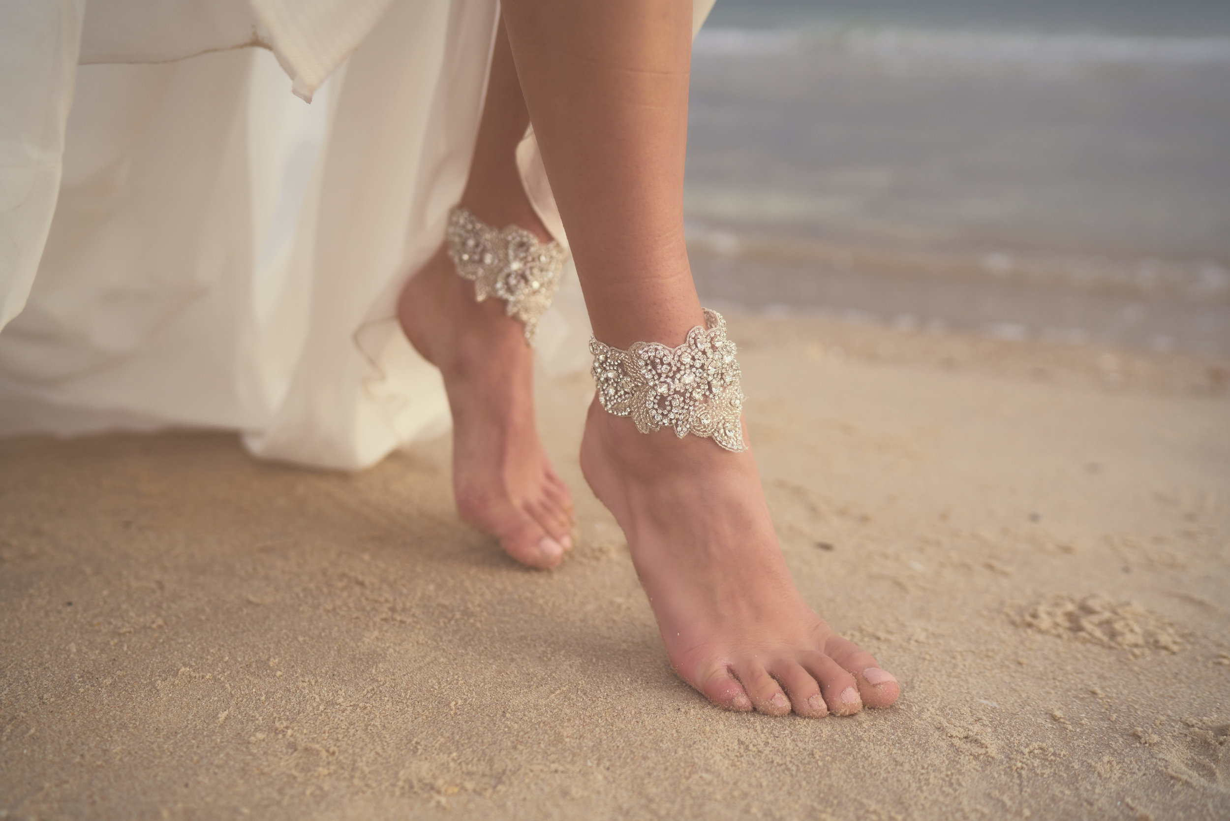 Anna Campbell Bridal Beaded Blossom Footcuffs