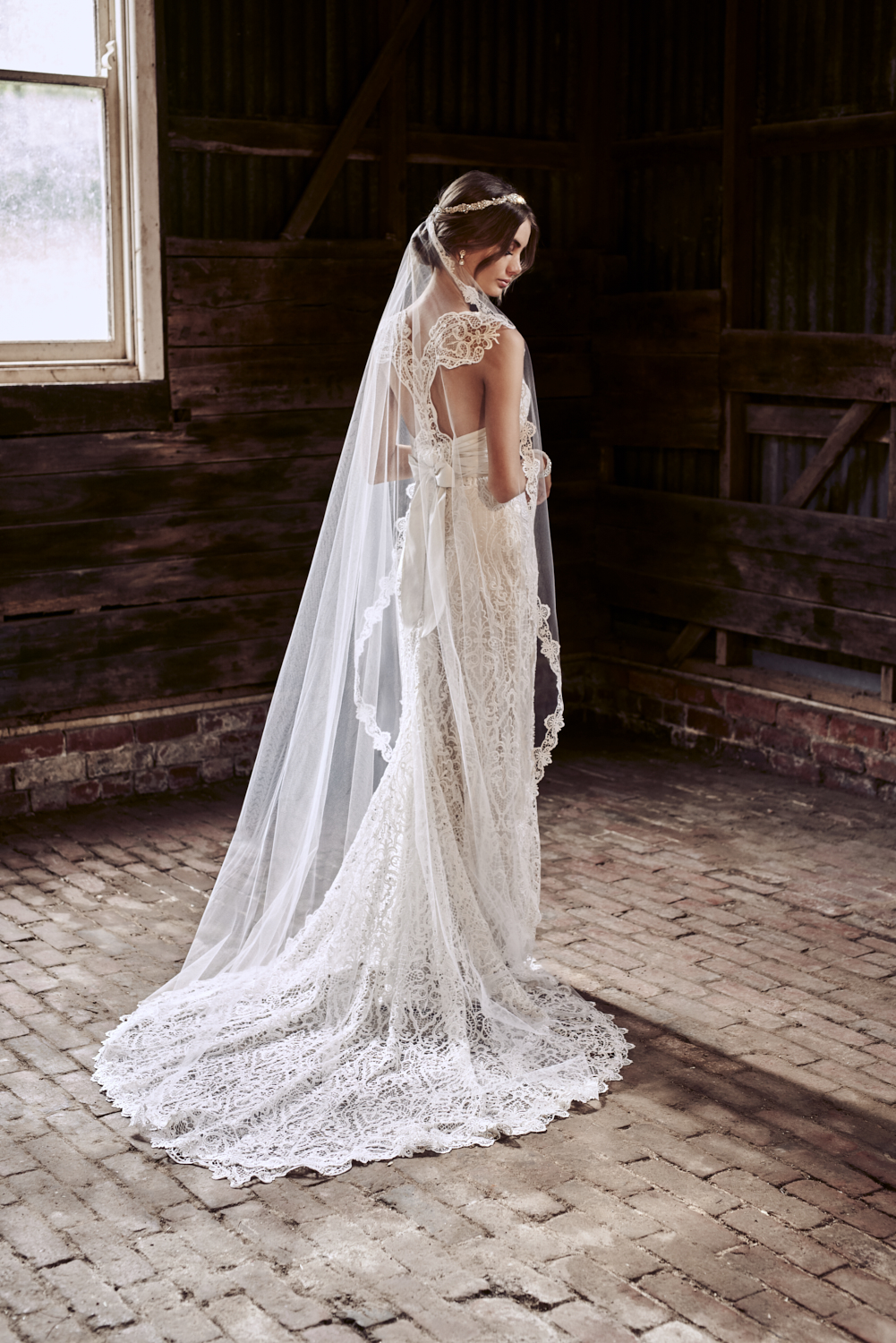 The Eleanor Dress styled with the Eleanor Veil (Chapel Length without Blusher)