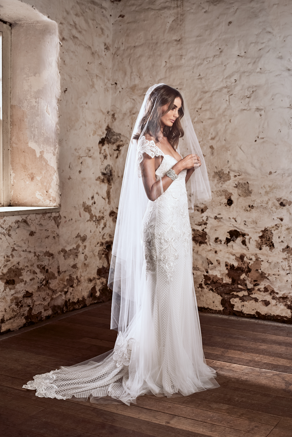 The Savannah (Trumpet) Dress styled with the Savannah Veil (Fingertip with Blusher)