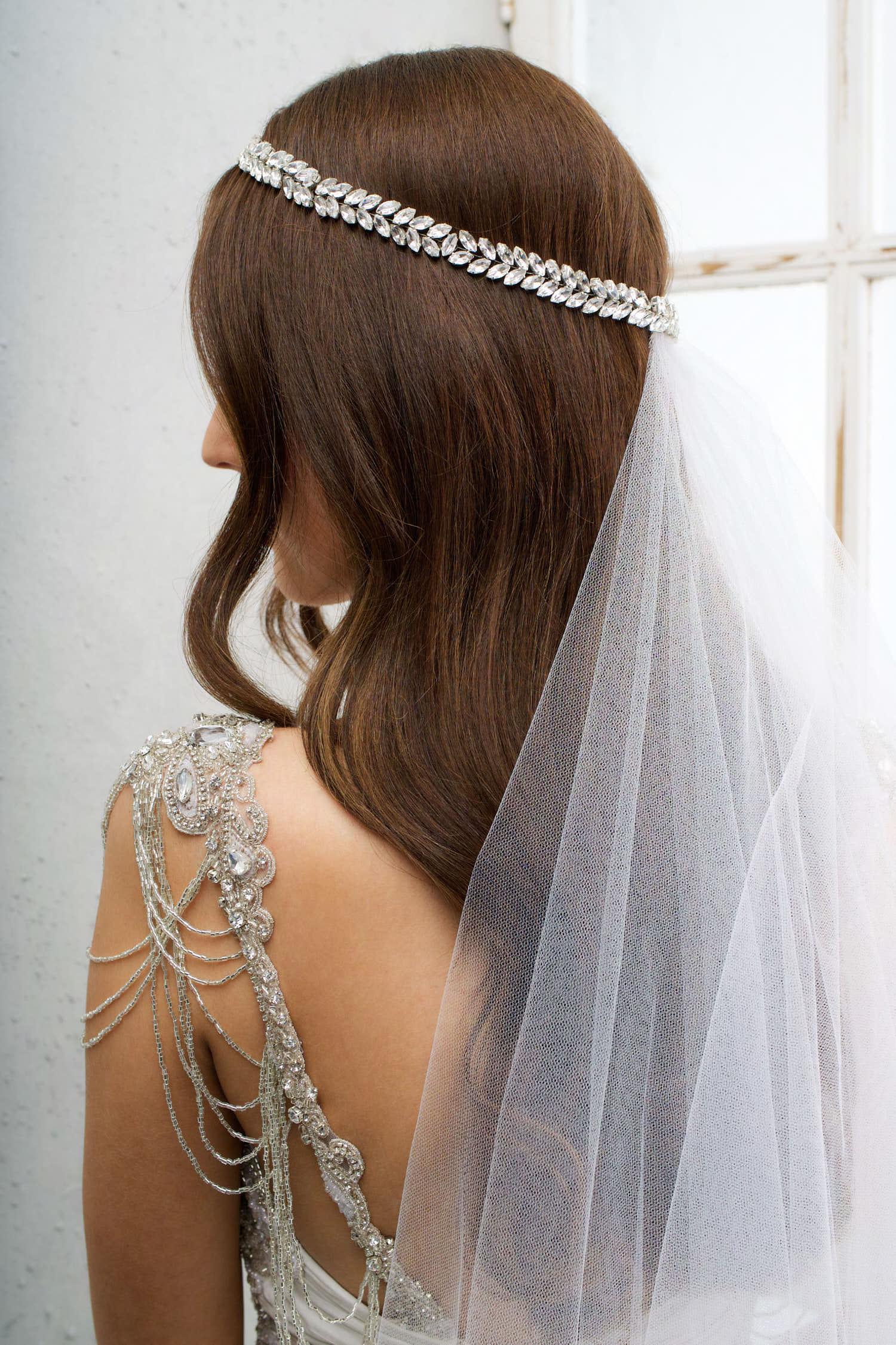 The Phoenix Headpiece worn with the Zara Veil (Chapel Length, No Blusher)