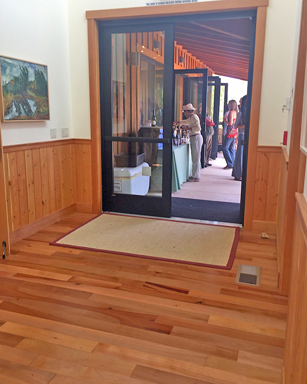 Madrone hardwood floors at entrance
