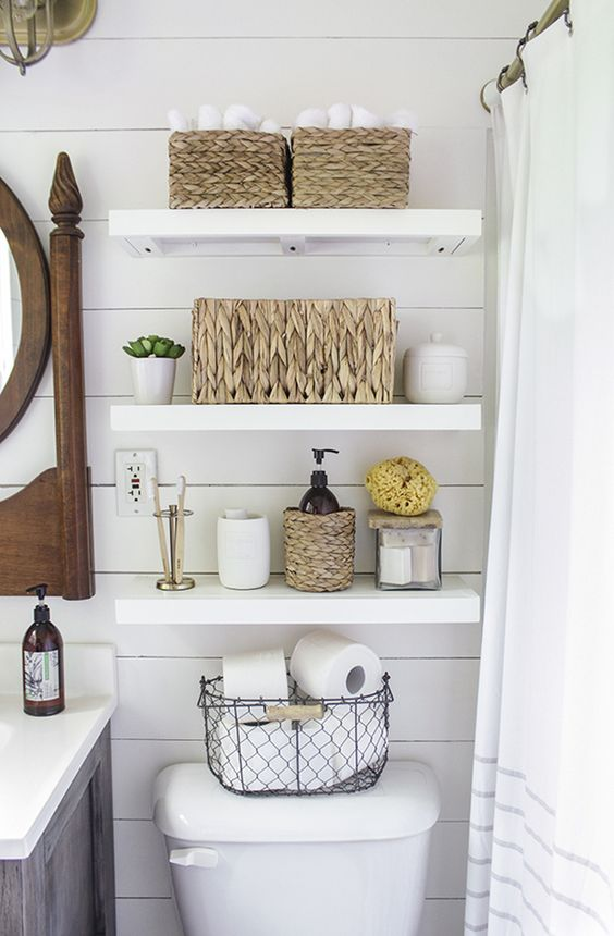 Add floating shelves in the bathroom