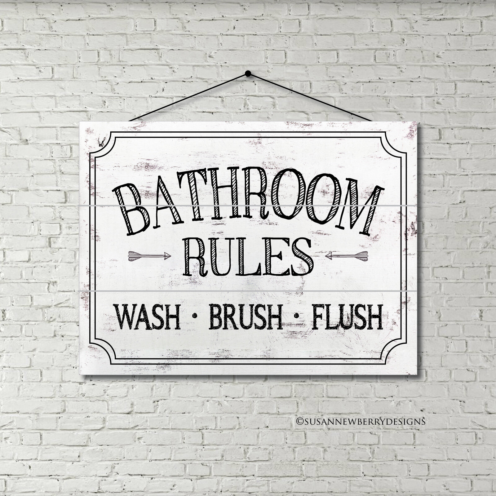 Wood Pallet Bathroom Rules