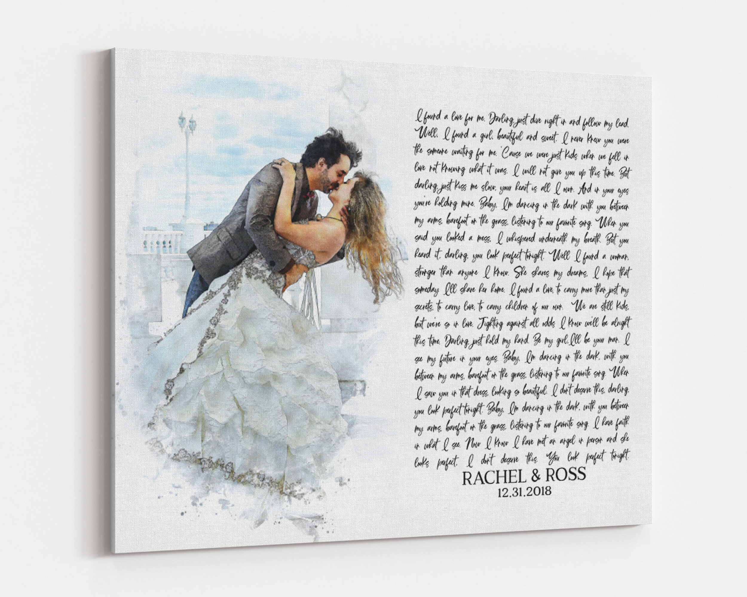 Watercolor Portrait with song lyrics 1