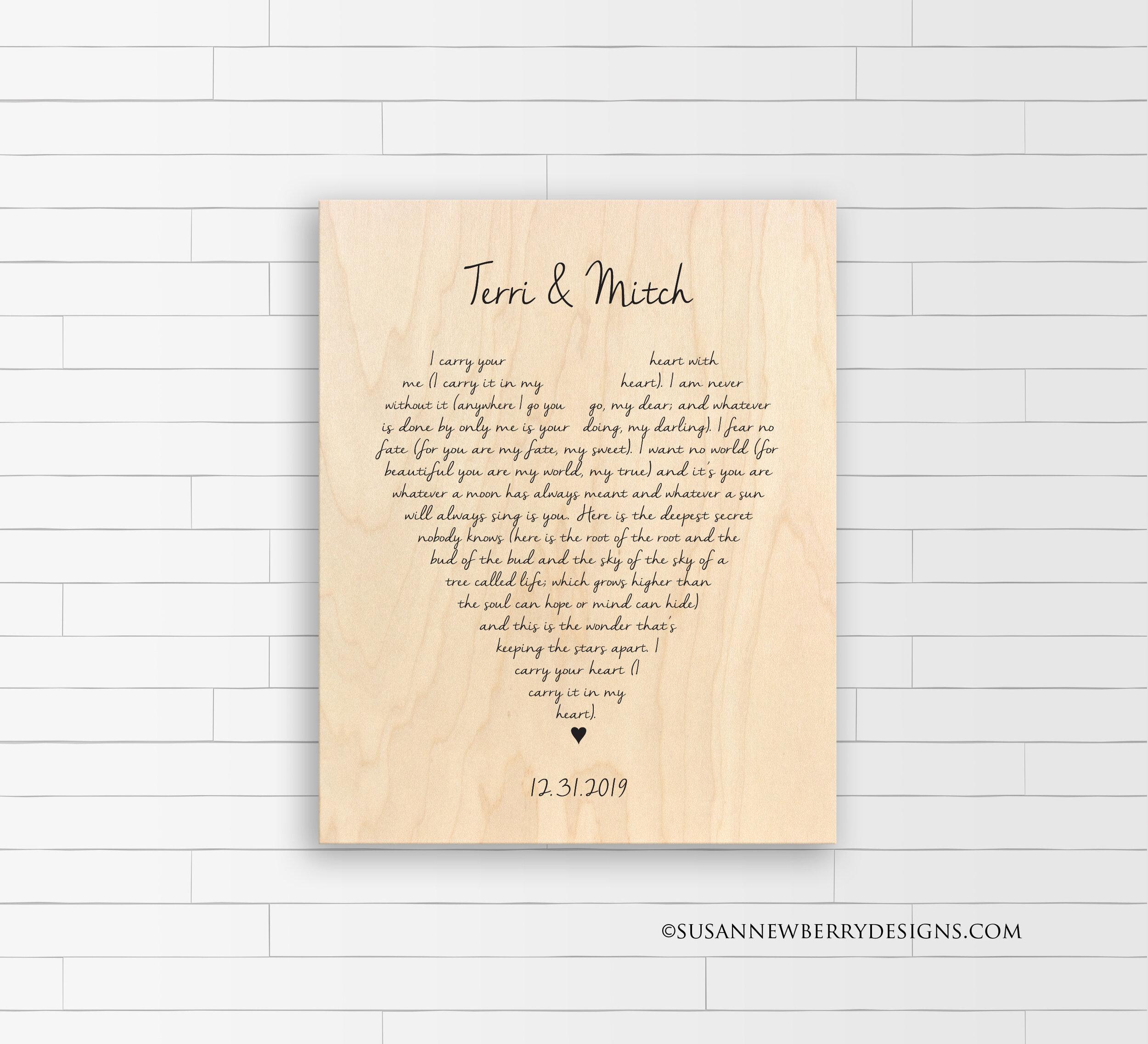 Maple Wood Print ee cummings