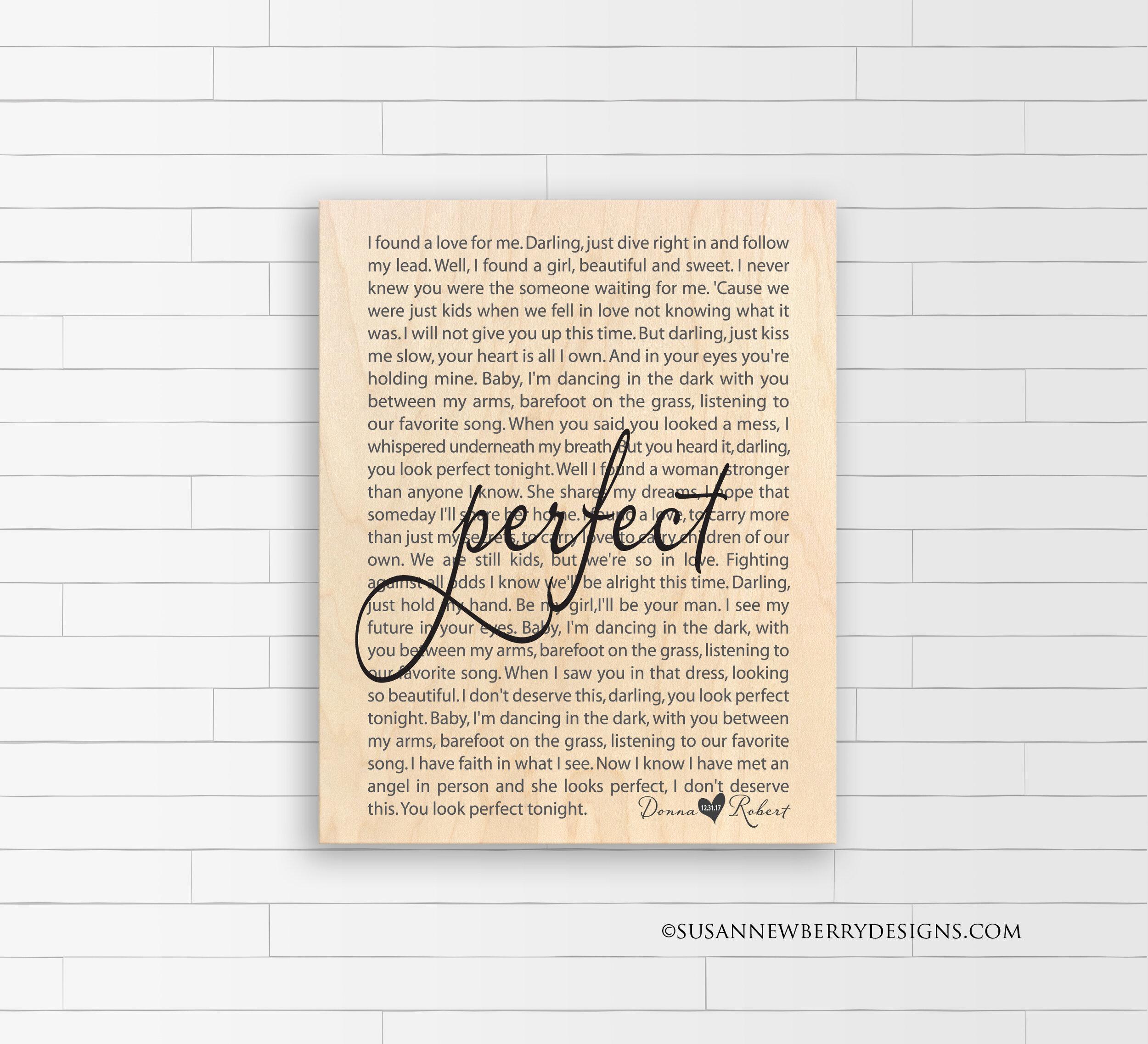 Maple Wood Print - Wedding Song Lyrics