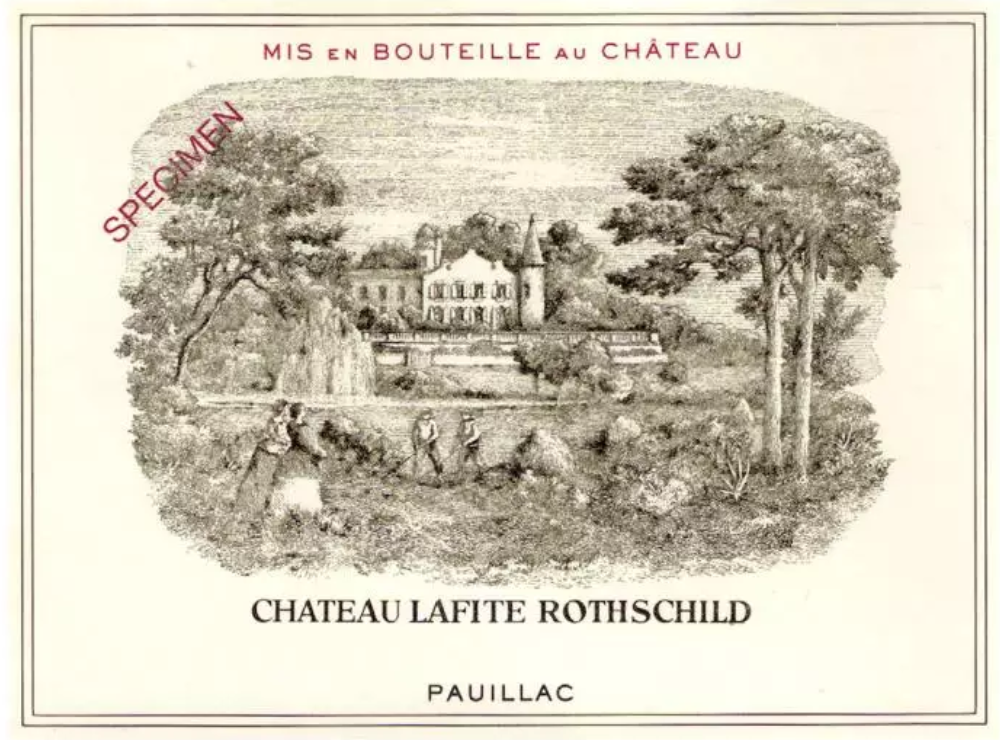 Ch. Lafite Rothschild label (SPECIMEN notice is presumably to protect against fraud)