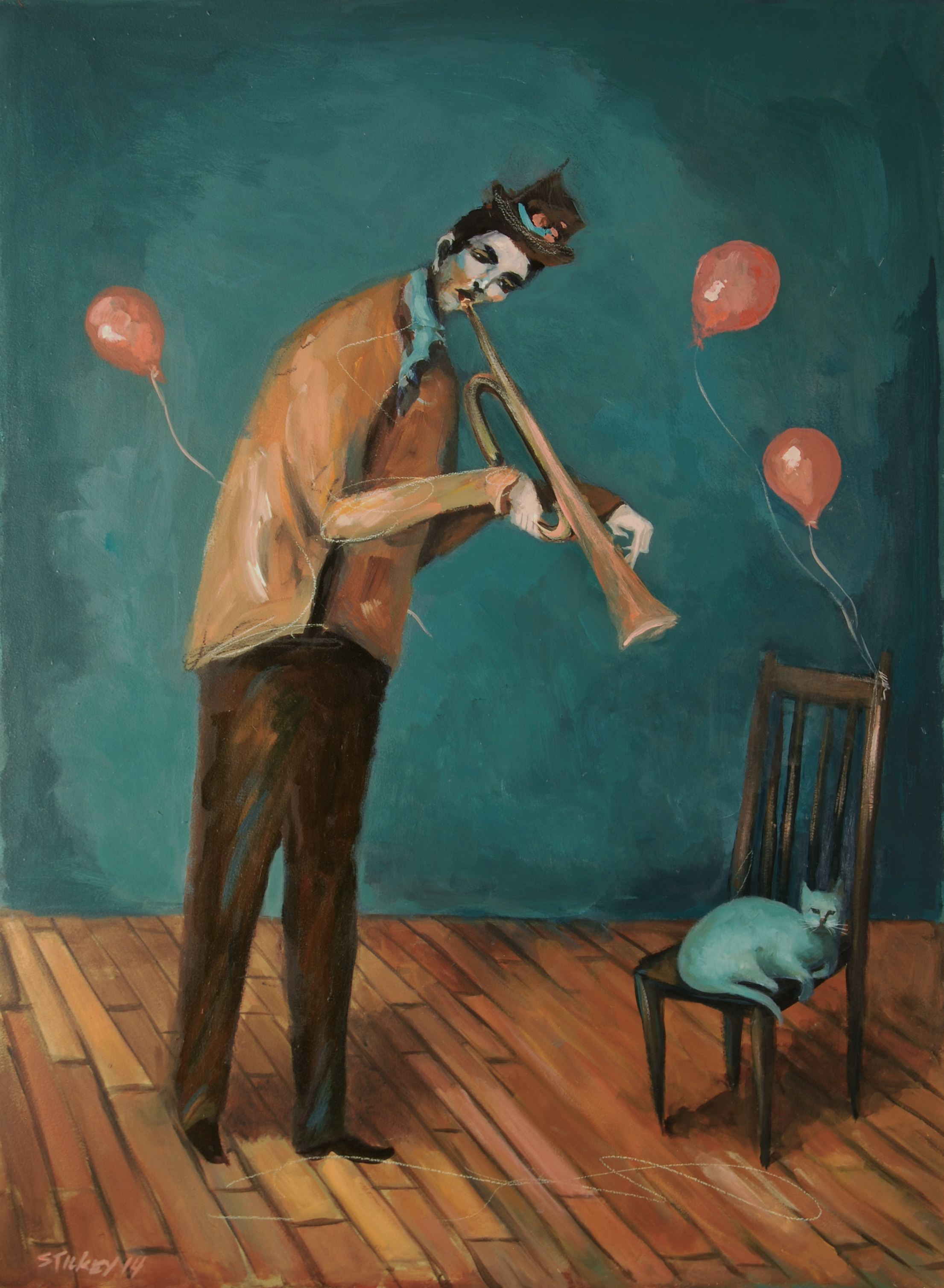 Man Playing Horn For Kitty