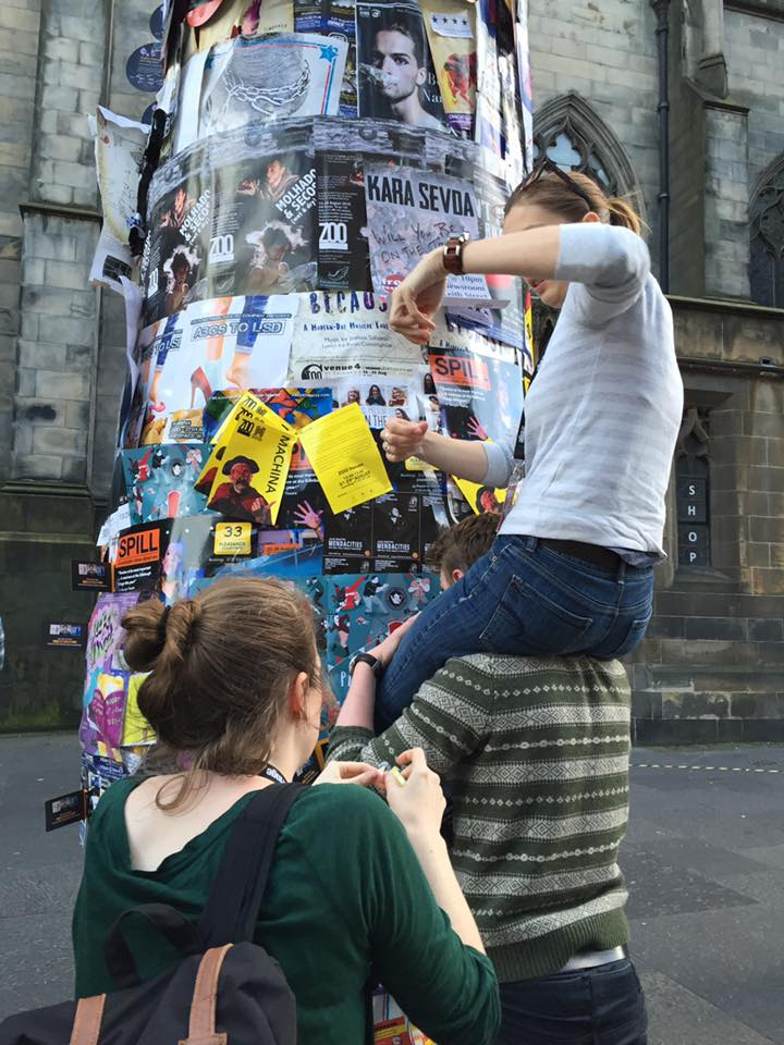 The team finds unique ways to put up flyers at Edinburgh Fringe 2016