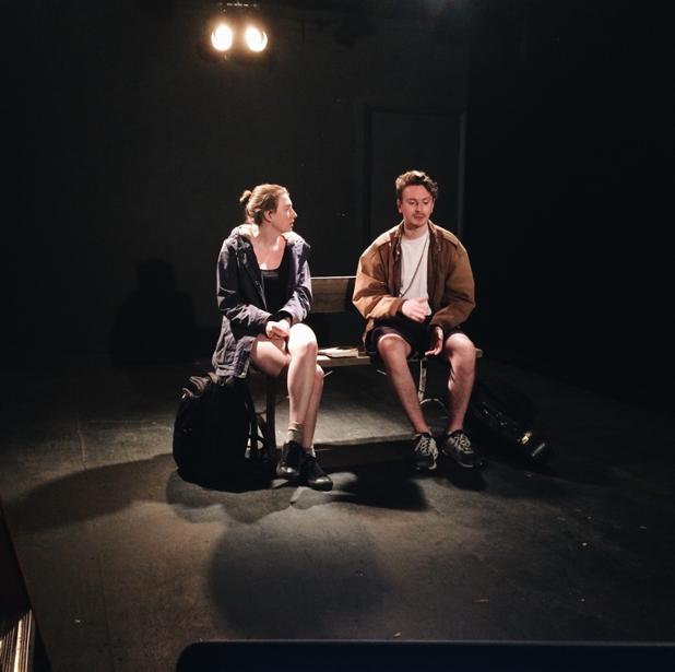 Technical Rehearsal in Sunny Tampa - Actors Tierney & Will rehearse in shorts! ;)