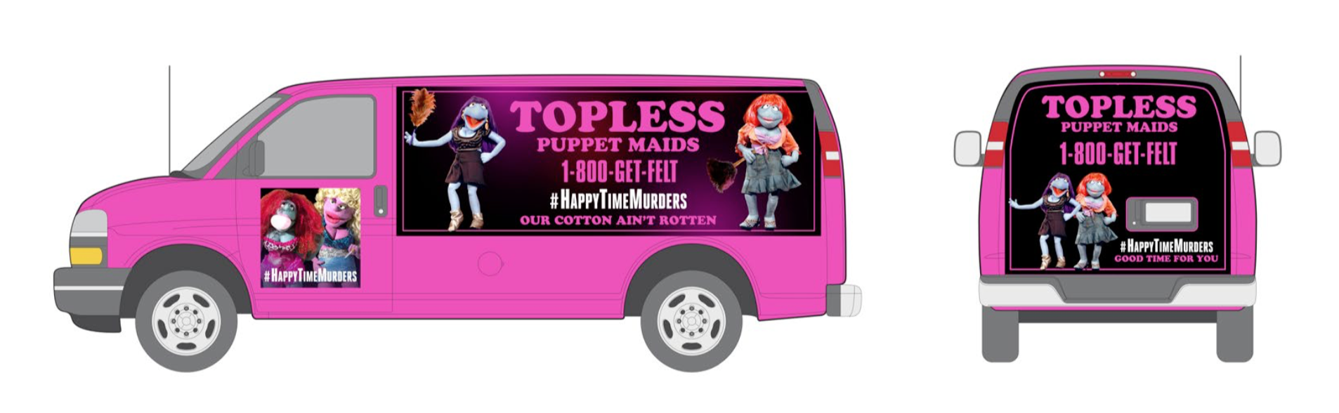 Topless Puppet Maids Mobile Truck Advertising.